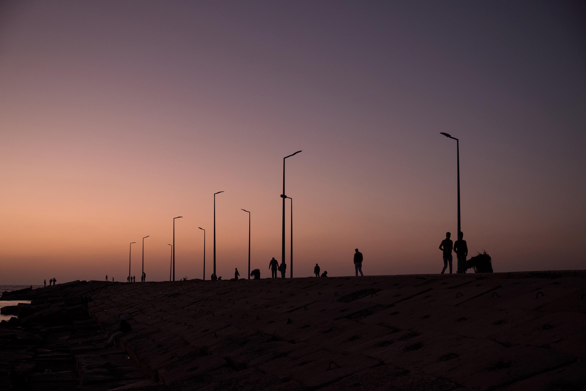 The Gleem Beach area after sunset.