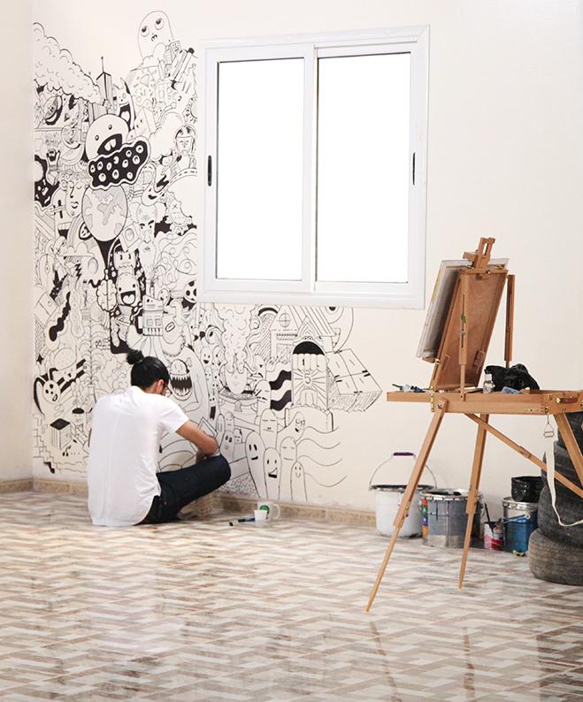 Khaled Bader at his painting space