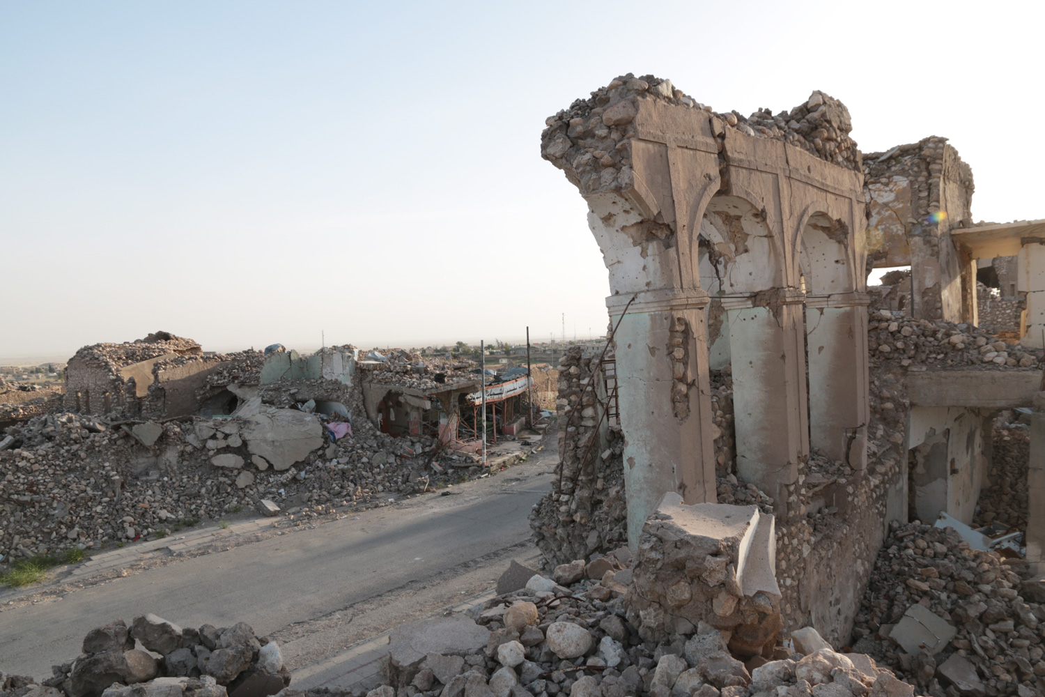 The town of Sinjar was heavily destroyed by coalition airstrikes before it was retaken from ISIS by Kurdish forces in November 2015.