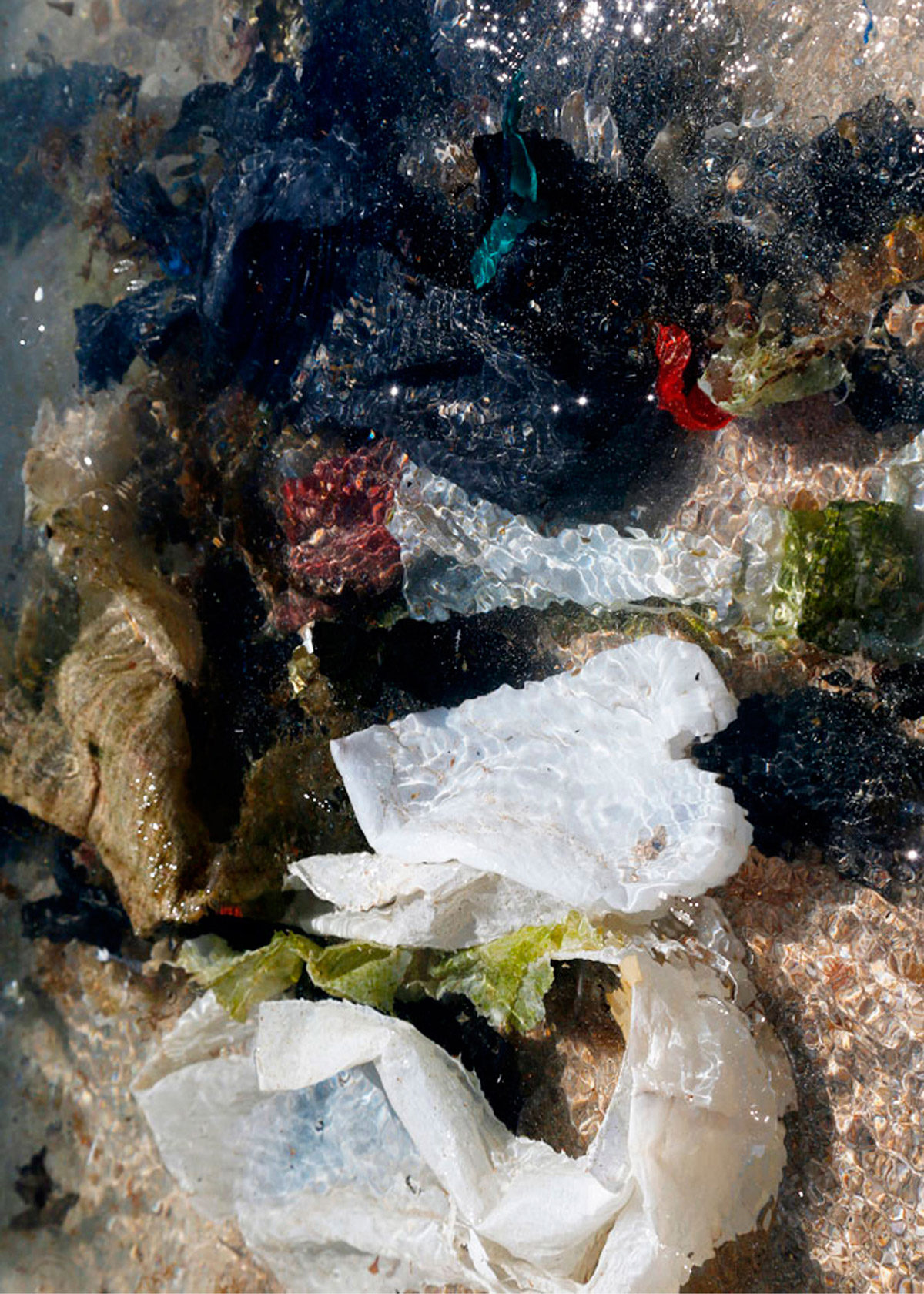 Trash submerged in the water.