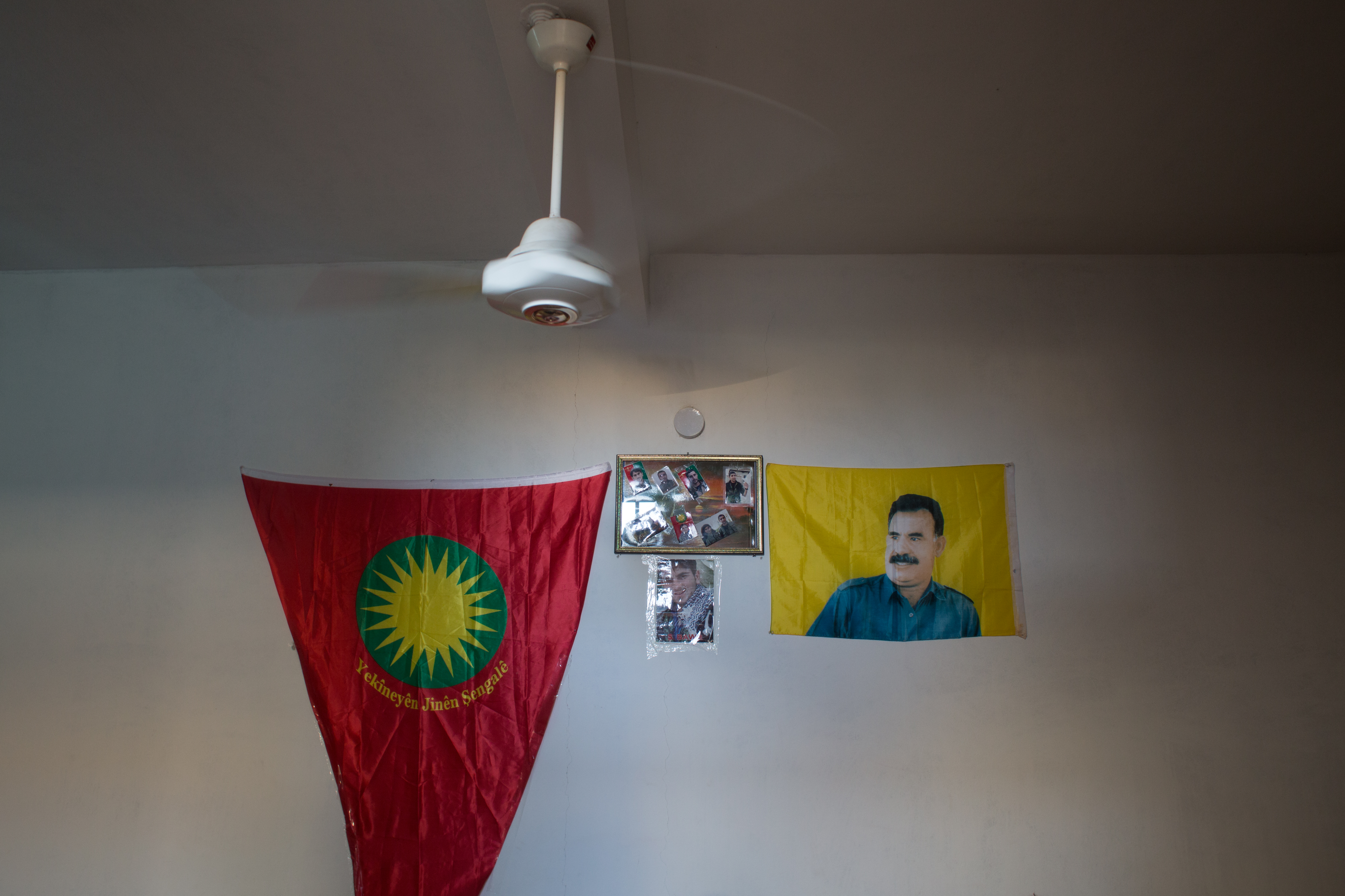 In all of Rojava's public buildings images of the Kurdish sun and Ocalan, one of the PKK's founders, are omnipresent.