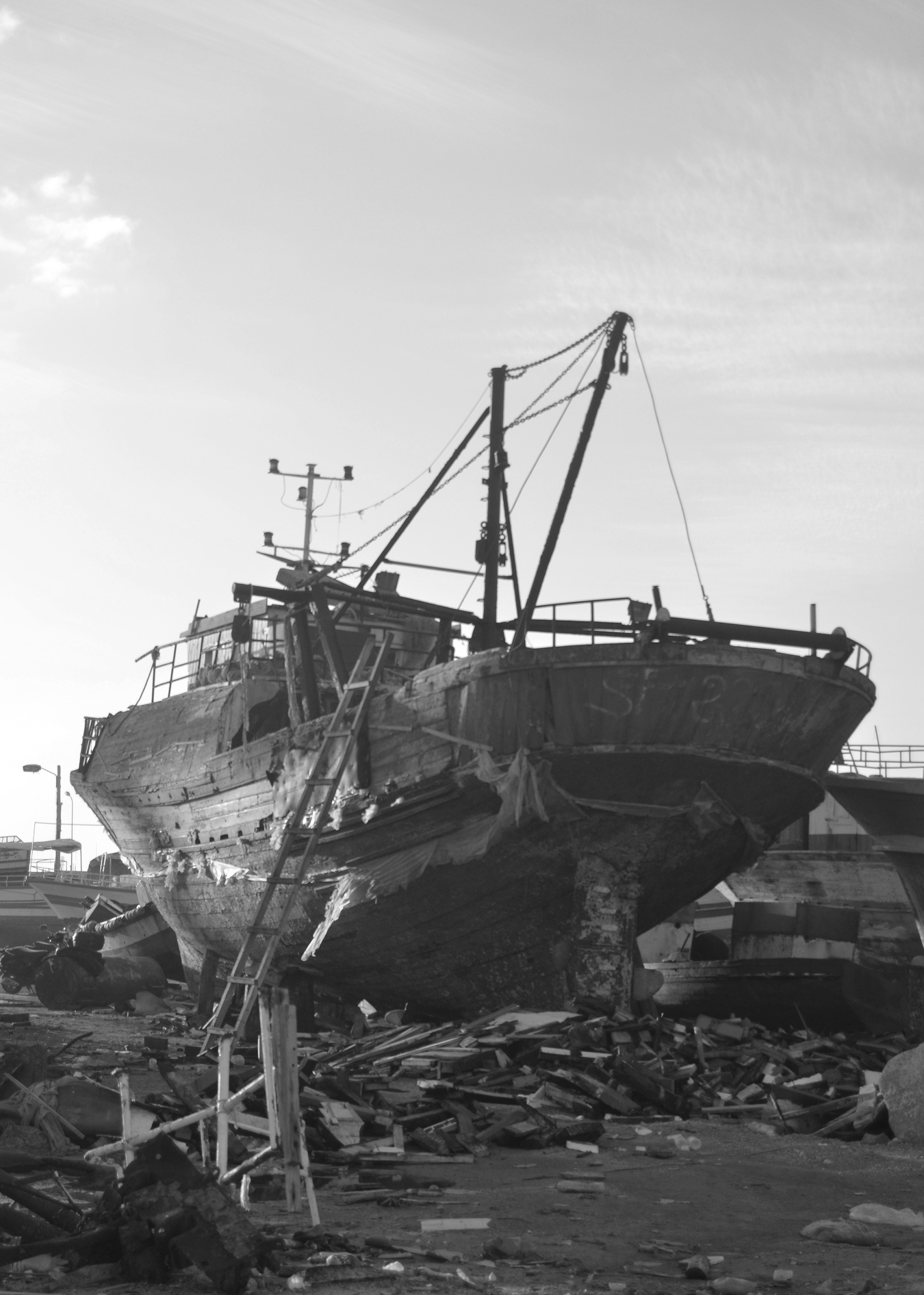 Old and new fishing boats under construction in Zarzis.
