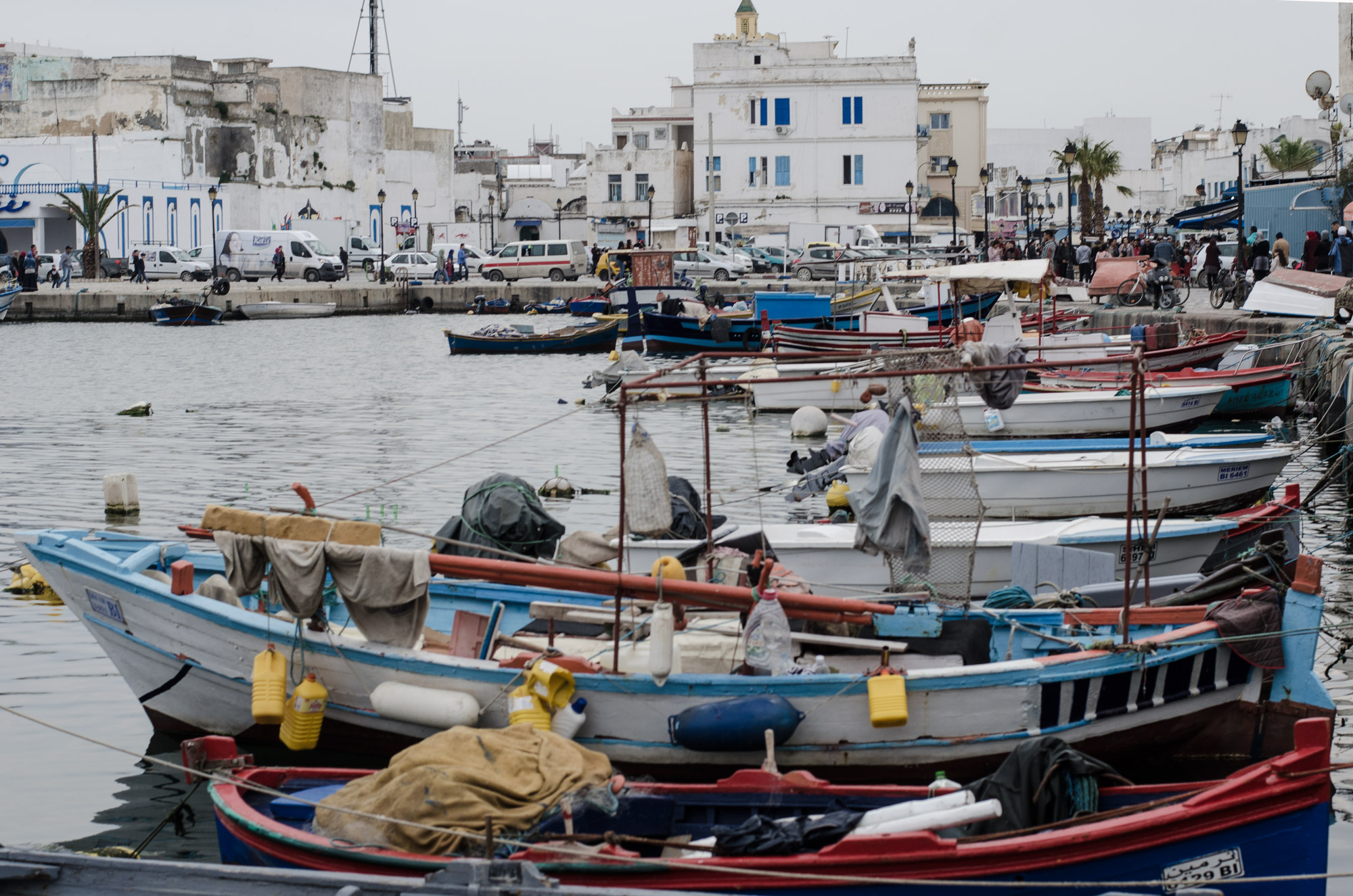 Fishing boats moored in the old port in Bizerte.