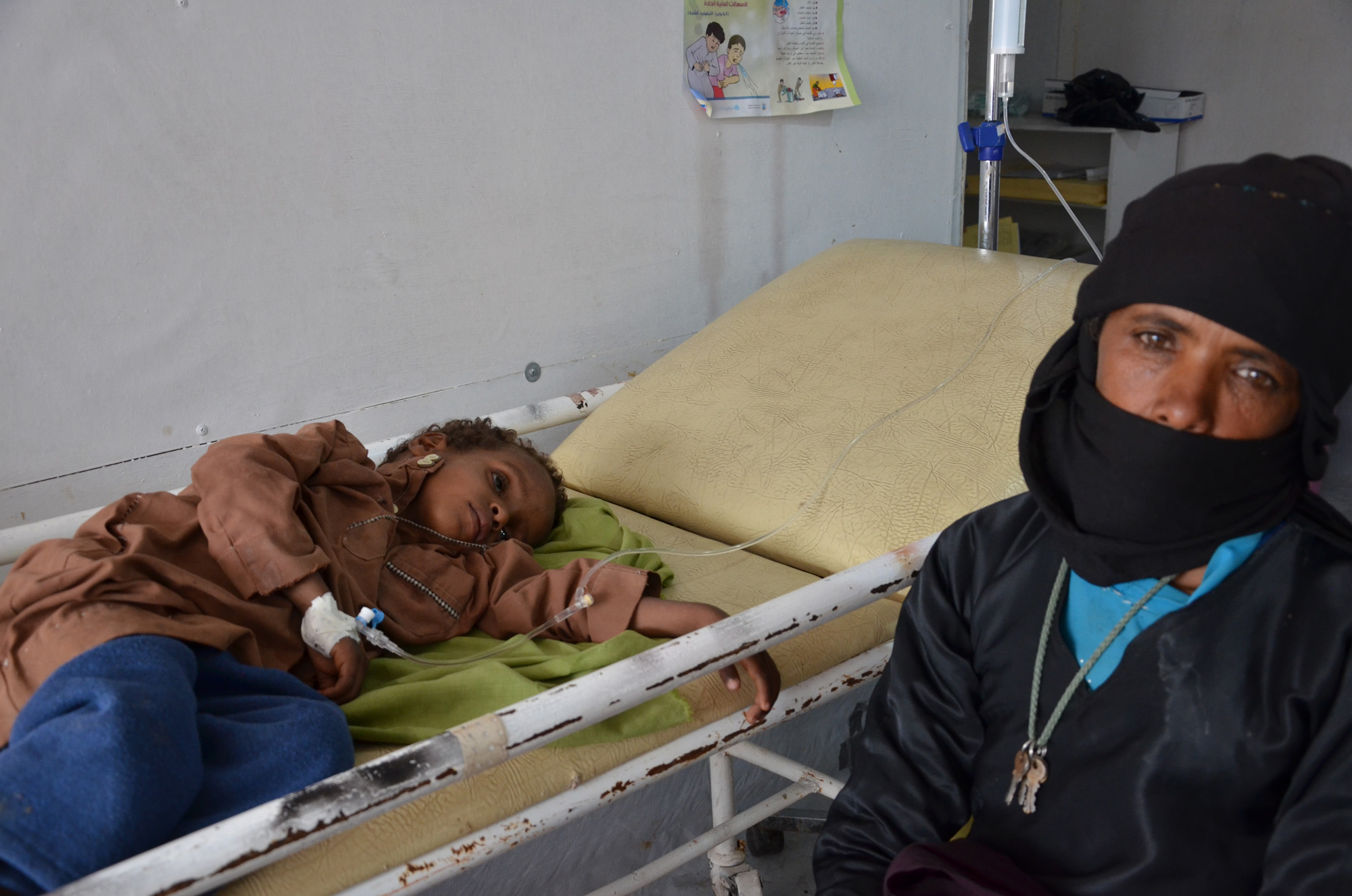 Yehya Abdullah, four years old, from Osman valley, an hour and half away MSF cholera treatment centre in Khamer.