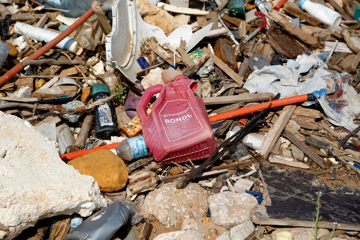 Plastic waste on a beach in Beirut, with solid waste and even sewage visible on many parts of the coast. Fishermen have complained about a sudden loss of marine life.
